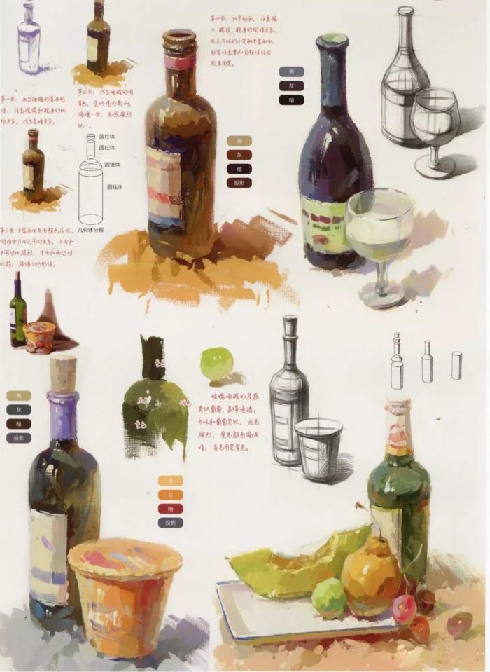 广州画室,色彩静物,玻璃器皿绘画